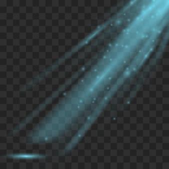 Promień światła. przezroczysta wiązka światła na tle kratkę. błyszczący przezroczysty promień i ilustracja świecący promień światła