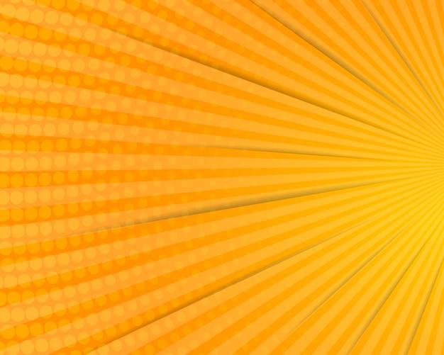 Promienie i żółte tło komiksu półtonów na okładce plakatu kreskówki wektor premium