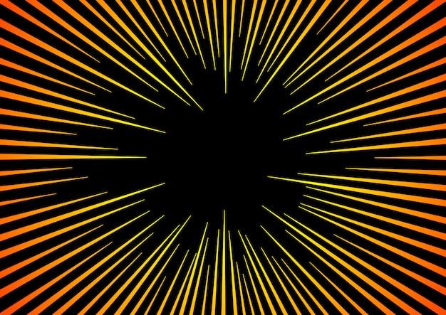 Promienie słoneczne lub bom wybuchowy. promieniowanie słoneczne hyper speed warp lub bom eksplozji w tle promieniowym komiksów