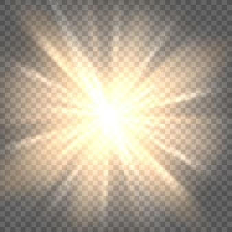 Promienie słoneczne na przezroczystym tle