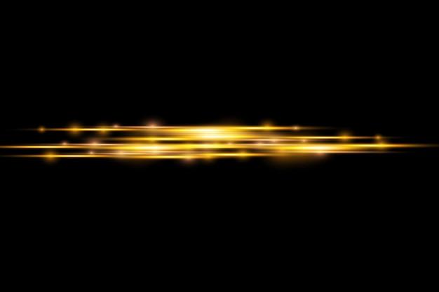 Promienie świetlne błyskają poziome flary soczewkowe pakiet wiązki laserowe świecą żółtą linią jasny złoty blask