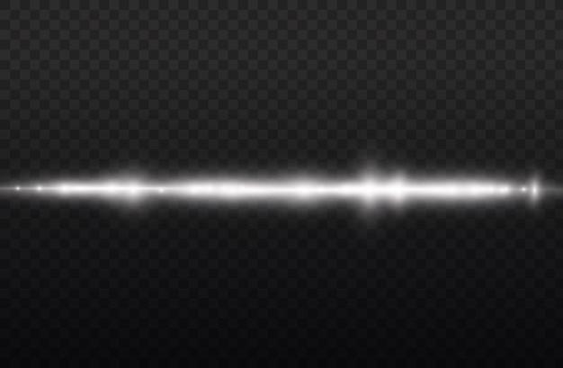 Promienie świetlne migają białą poziomą soczewką flary pakiet wiązki laserowe świecą białą linią piękny rozbłysk