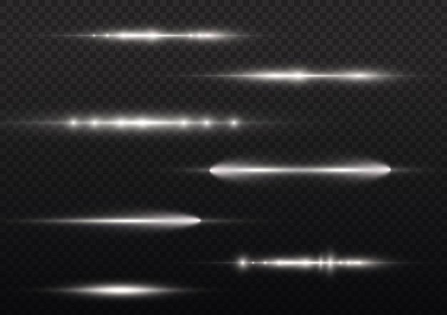Promienie świetlne Migają Białą Poziomą Soczewką Flary Pakiet Wiązki Laserowe świecą Białą Linią Piękny Rozbłysk Premium Wektorów