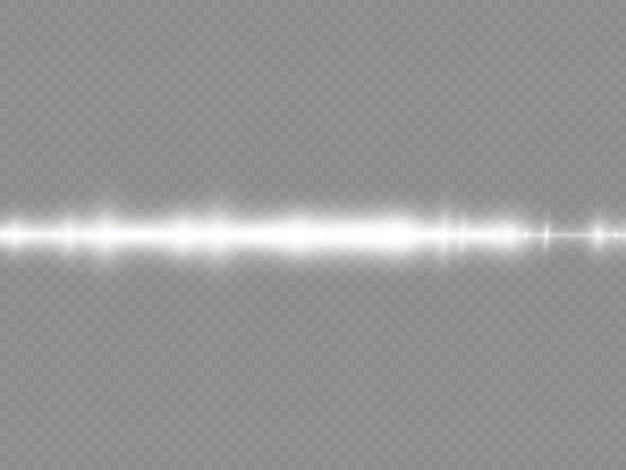 Promienie świetlne migają białą soczewką poziomą flary pakiet wiązki laserowe świecą białą linią piękny rozbłysk