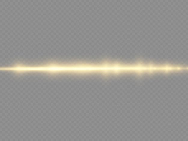 Promienie świetlne migają żółtą poziomą soczewką flary pakiet wiązki laserowe świecą żółtą linią piękny rozbłysk