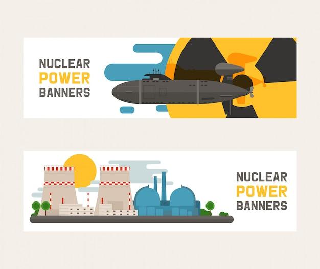 Promieniotwórczy, budynek elektrowni jądrowej, wybuch bomby, atomowe ikony ustawiać sztandary ilustracyjni.
