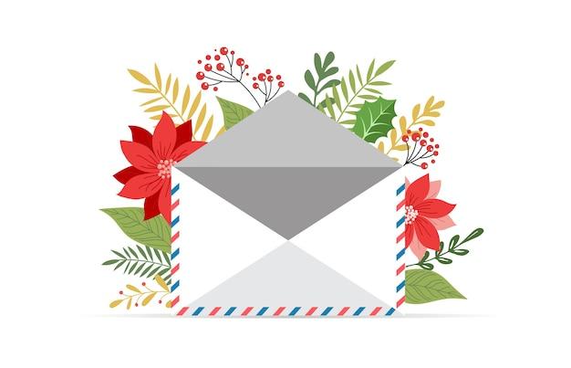 Promo boże narodzenie, nowy rok banner, plakat sprzedażowy i ulotka z kopertą, list do świętego mikołaja