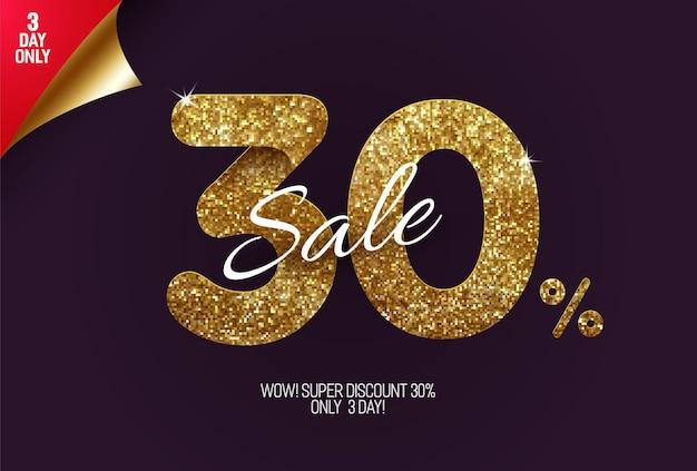 Promocja 30% zniżki na błyszczące złote, wykonane z małych złotych brokatowych kwadratów