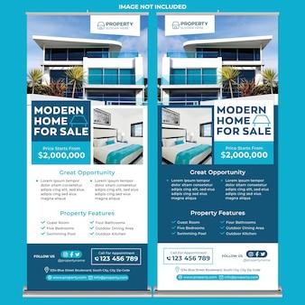Promocja agenta nieruchomości roll up banner print template w stylu flat design