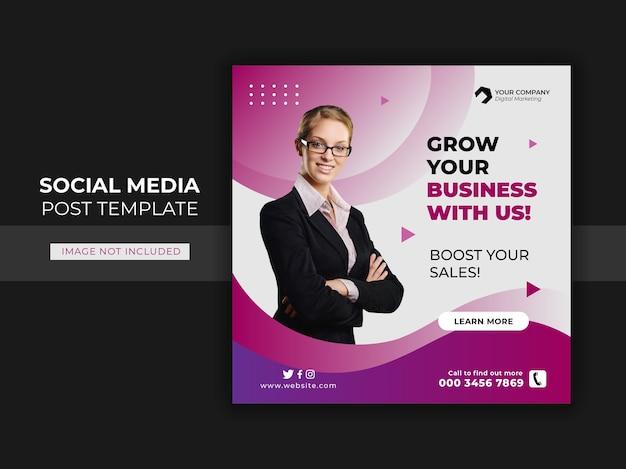 Promocja biznesowa dla szablonu postu w mediach społecznościowych