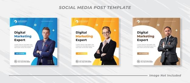Promocja biznesowa i szablon banera korporacyjnego mediów społecznościowych lub kwadratowa ulotka