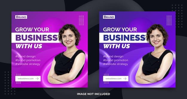Promocja biznesu w mediach społecznościowych baner post szablon reklama w stylu 3d