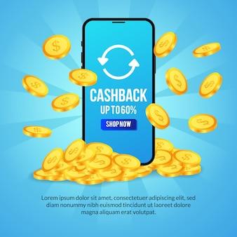Promocja cashback z koncepcją transparentu ilustracji telefonu
