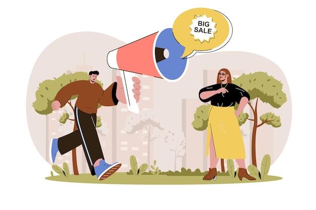 Promocja koncepcja sieciowa mężczyzna z głośnikiem reklamuje dużą wyprzedaż i przyciąga kobietę klientkę