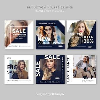 Promocja kwadratowa kolekcja banerów
