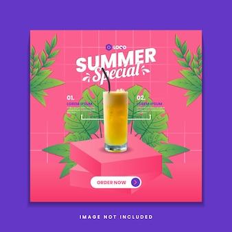 Promocja menu letnich drinków w mediach społecznościowych szablon postu na instagram