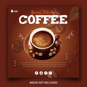 Promocja menu w kawiarni na drinka szablon postu w mediach społecznościowych