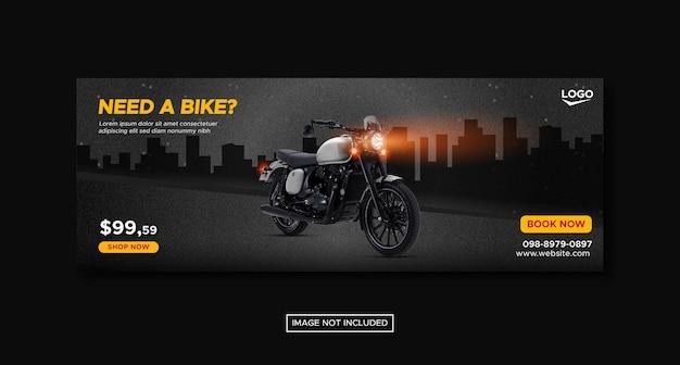 Promocja motocykla na baner społecznościowy z okrągłym szablonem podium premium vector