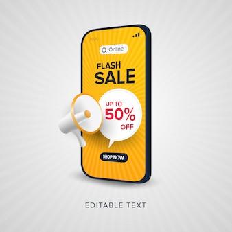 Promocja na zakupy online w sprzedaży flash z edytowalnym tekstem