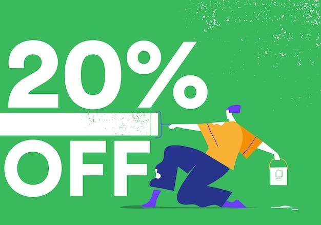 Promocja, oferta, 20% rabatu. młody artysta malujący ścianę wałkiem