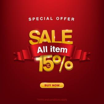 Promocja, oferta specjalna wyprzedaż wszystkie przedmioty do 15%