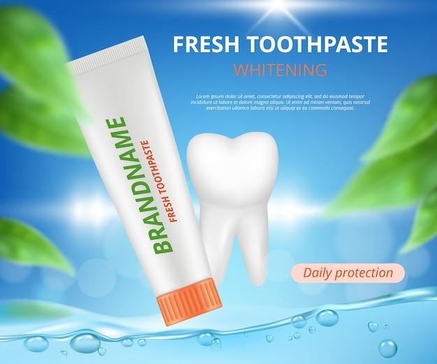 Promocja pasty do zębów. szczoteczka ochronna zdrowych zębów z plakietką z rurką medyczną realistyczną ilustracją.