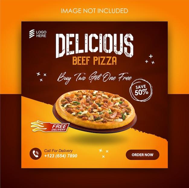 Promocja pizzy w mediach społecznościowych i szablon postu na banerze