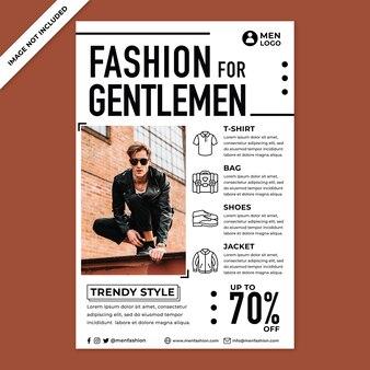 Promocja plakatu mody męskiej w stylu płaskiej konstrukcji