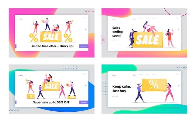 Promocja rabat i cena zestaw strony docelowej witryny w dniu wolnym od pracy