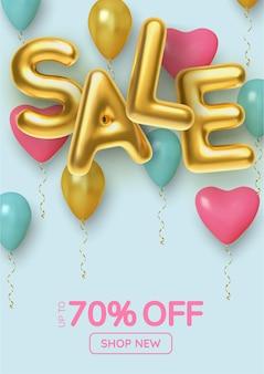 Promocja rabatowa z realistycznych balonów 3d w kolorze różowym, niebieskim i złotym.