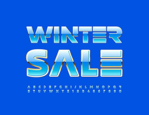 Promocja sezonowa wektor zimowa wyprzedaż szykowne niebieskie i złote czcionki kreatywnych liter alfabetu i cyfr