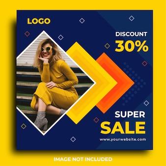 Promocja sprzedaży instagram post lub kwadratowy szablon banner