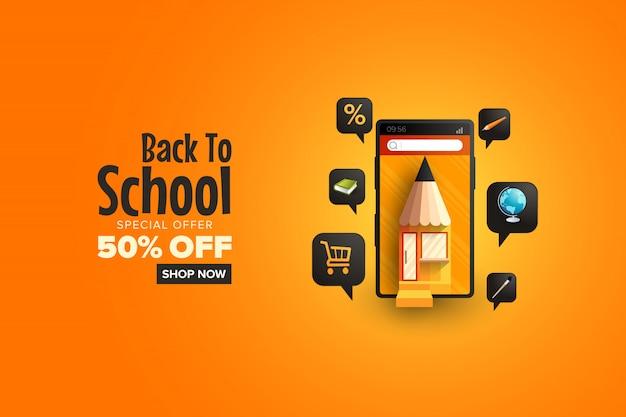 Promocja sprzedaży z okazji powrotu do szkoły w aplikacji mobilnej