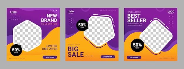 Promocja szablonu kwadratowego banera w mediach społecznościowych