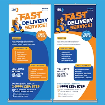 Promocja usługi dostawy roll up banner print template w stylu flat design