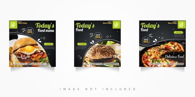 Promocja w mediach społecznościowych baner żywnościowy post specjalny czarny piątek