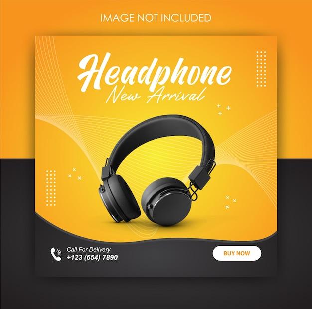Promocja w mediach społecznościowych produktu słuchawkowego i szablon postu banerowego
