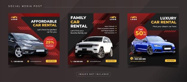 Promocja w mediach społecznościowych wypożyczalni samochodów rodzinnych dla szablonu posta na instagramie