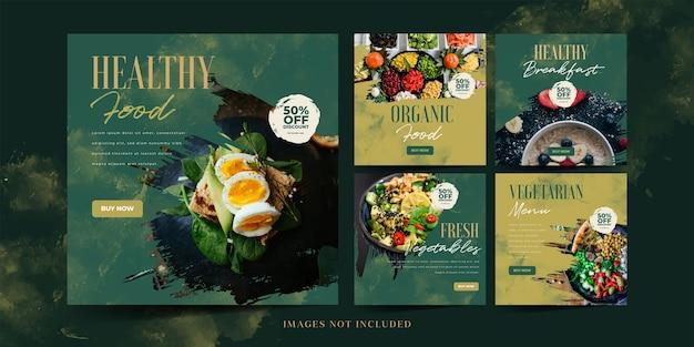 Promocja w mediach społecznościowych zdrowej żywności dla szablonu posta na instagramie