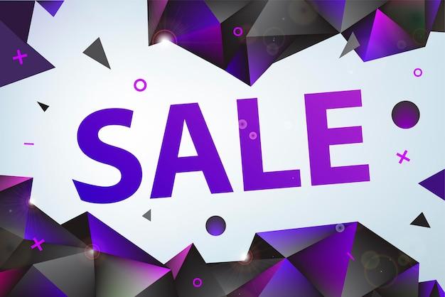 Promocja wektor, sprzedaż plakat, baner. eometric faset 3d kształty, projekt rabatu do druku lub strony internetowej, media, materiały promocyjne
