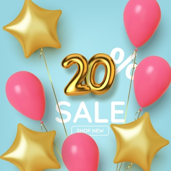 Promocja z rabatem 20 z realistyczną złotą cyfrą 3d z balonami i gwiazdami. numer w postaci złotych balonów.