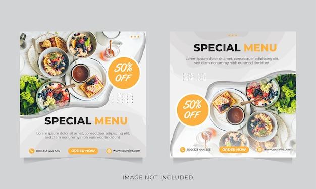 Promocja żywności w mediach społecznościowych i post na banerze na instagramie