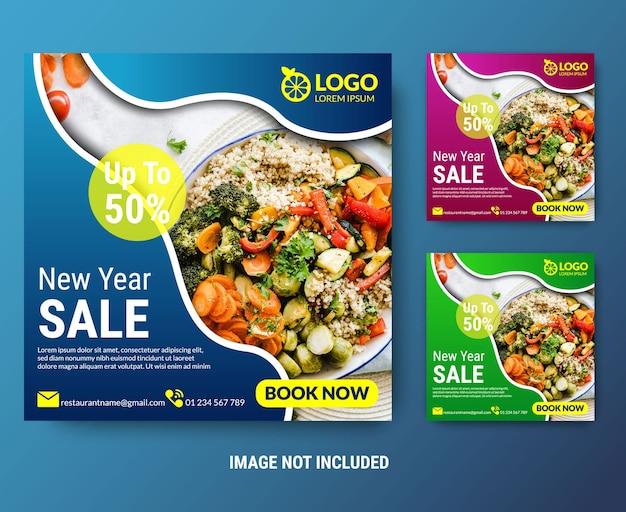 Promocja żywności w mediach społecznościowych i szablon postu banner na instagramie