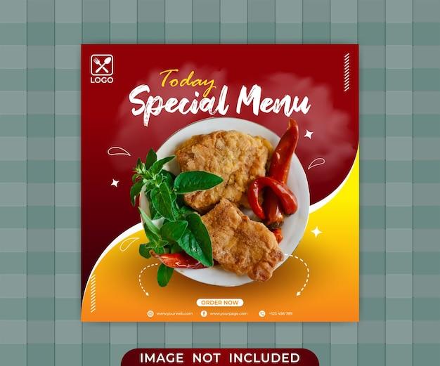Promocja żywności w mediach społecznościowych i szablon projektu banera