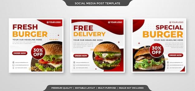 Promocja żywności w mediach społecznościowych szablon postu w stylu premium