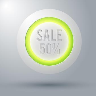 Promocyjna internetowa koncepcja okrągłego przycisku ze zniżką pięćdziesiąt procent na szarej ilustracji