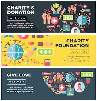 Promocyjne plakaty fundacji charytatywnych i fundacji internetowych