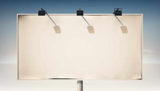 Promocyjny poziomy billboard na metalowej kolumnie z pustym płótnem i reflektorami na białym tle