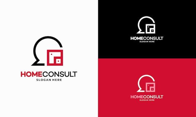 Property consult logo projektuje wektor koncepcyjny, szablon logo house consulting agent, symbol logo nieruchomości