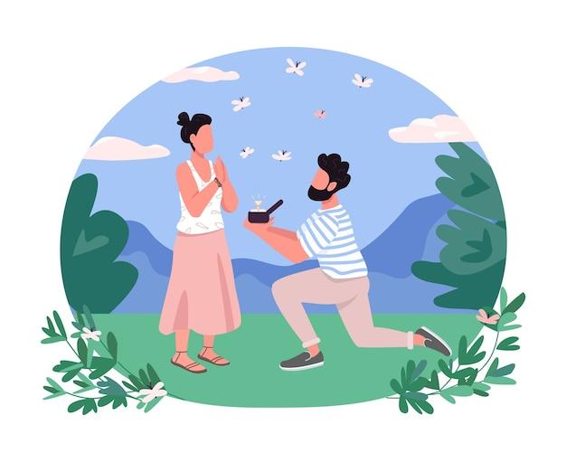 Propozycja małżeństwa, baner 2d, plakat. mężczyzna na jednym kolanie przedstawia pierścionek z brylantem. romantyczna para płaskie postacie na tle kreskówki. naszywka zaręczynowa do wydrukowania, kolorowy element sieciowy